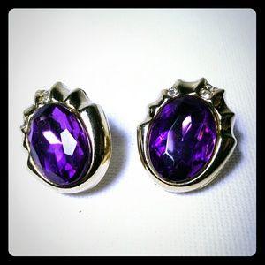 Purple Rhinestone Oval Gold Tone Stud Earrings
